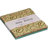 Very Merry Moda Charm Pack By Sandy Gervais; 42 - 5 Precut Fabric Quilt Squares by moda