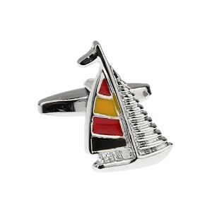 mrcuff Sailing Shipヨット帆Colored Cufflinks with aプレゼンテーションギフトボックス