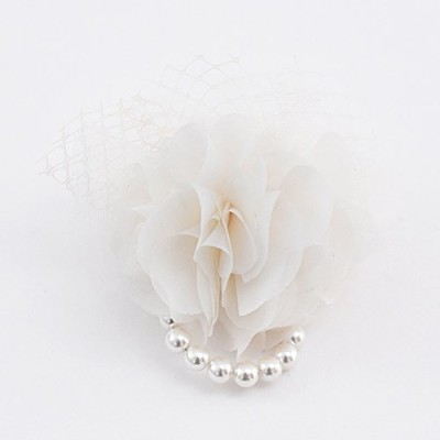 ma chere Cosette? チュールとパールのシフォンコサージュ Chaumeil tulle pearl corsage アイボリー