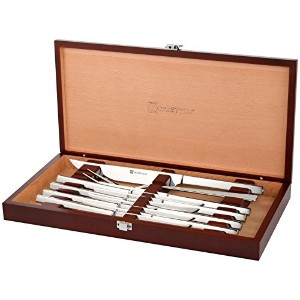 Wusthof Stainless Steel 10 Piece Steak and Carving Set with Presentation Chest, Silver by Wテδシsthof