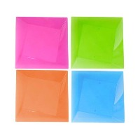 Party Essentials Hard Plastic Square Twist 6.5-Inch Party/Dessert Plates, Assorted Neon, 10 Count...