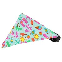 Aqua Summer Fun Bandana Pet Collar Black Size 18