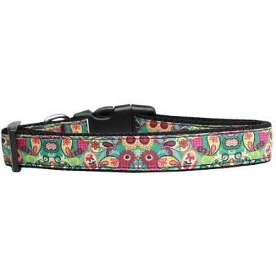 Turquoise Paisley Nylon Dog Collar Medium
