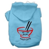 Miso Cute Screen Print Pet Hoodies Baby Blue Size XL (16)