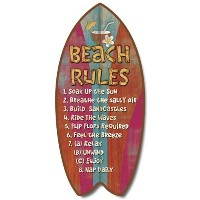 Weathered Tropical Beach Rules Mini Surfboard Plaque Home Dテδゥcor Accent 11 Sign by Highland...