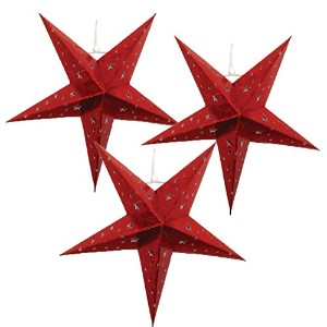 Justアーティファクト – Star Shaped Paper Lantern /ランプHanging Decoration – (18インチ、レッド) – Vary Set of 3