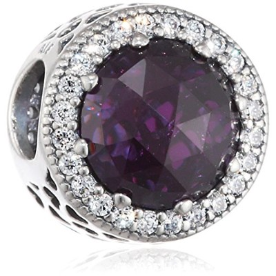 Pandora Bead and Silver Charm 791725NRP Woman Purple Crystal Purple Heart Radiant by Unknown