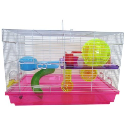 YML Clear Plastic Dwarf Hamster Mice Cage with Color Accessories, Pink by YML