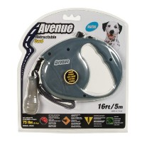 Avenue Retractable Cord Leash for Dogs, Gray, Medium/16 Feet by Avenue
