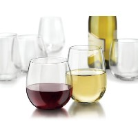 Libbey Vina 12-piece Stemlessレッドandホワイトワインメガネクリアby Libbey