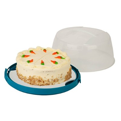Honey-Can-Do KCH-03840 Cake Carrier Round, clear white and blue