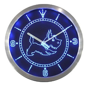 LEDネオンクロック 壁掛け時計 nc0376-b Old Fashioned Scottie Dog Shop Neon Sign LED Wall Clock