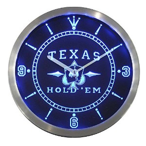 LEDネオンクロック 壁掛け時計 nc0458-b Texas Hold'em Poker Casino Neon Sign LED Wall Clock