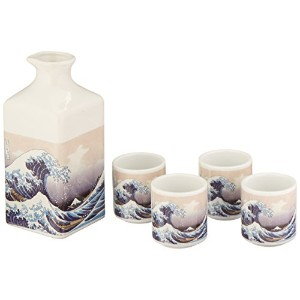 Happy Sales 5 Piece Japanese sake Set Great Wave Off Kanagawa by Happy Sales