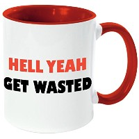 "Rikki Knight "" Hell yeah-get wasted-funny引用符レッドハンドルと内側デザイン""セラミックコーヒーマグカップ、11オンス、レッド"