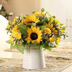 Riverbyland人工花Bunches of 3 Yellow Sunflowers