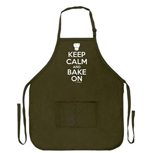 Keep Calm and Bake On面白いエプロンforキッチンBaker Baking 2つポケットエプロン女性と男性用 COMINHKPR87437