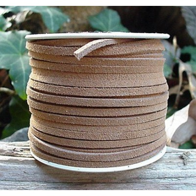 Lace Lacing Leather Suede, Very Light Brown (Beige) 25 Yard Spool by Dangerous Threads