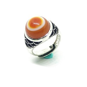 Womens Vintage Silver Natural Red Gemstone Agate Evil Eye Ring