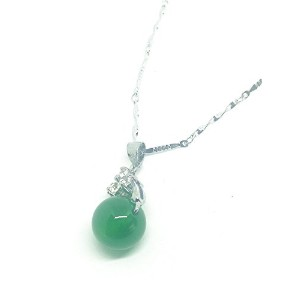 Women Silver Green Ball Bead Jade Gemstone Pendant Necklace