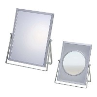 2WAY BEAUTY MIRROR(拡大鏡付き卓上鏡) 212mm×168mm×10mm アルミフレーム 日本製