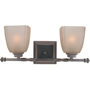 Lite Source LS-16288CP/BRZ Nita 2-Lite Vanity Lamp, Copper Bronze with Woven Pattern Glass Shade by...