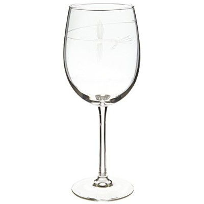 Rolf Glass Etched Fly Fishing All Purpose Large Wine Glass (Set of 4), 560ml, Clear