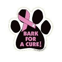 Bark For A Cure - Breast Cancer Paw Support Ribbon Car Truck & Mailbox Magnet by Pet Gifts USA