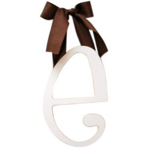 New Arrivals Wooden Letter E with Solid Brown Ribbon, Cream by New Arrivals