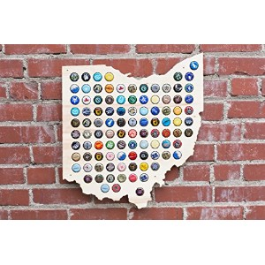 Ohio Beer Cap Map - Craft Beer Cap Holder by San Diego Laser Studio