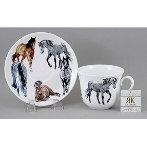 My Horses Breakfast Cup and Saucer By Roy Kirkham by Roy Kirkham