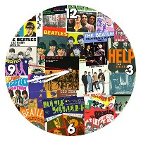Vandor 72089 The Beatles Cordless Wood Wall Clock, 13.5', Multicolored [並行輸入品]
