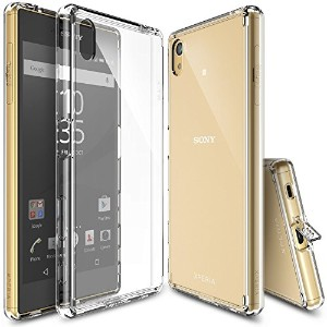 Xperia Z5 用ケース Ringke FUSION ハイブリッドケース 液晶保護フィルム付き (Crystal View)