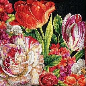 """Bouquet On Black Needlepoint Kit-14""""X14"""" Stitched In Thread (並行輸入品)"""