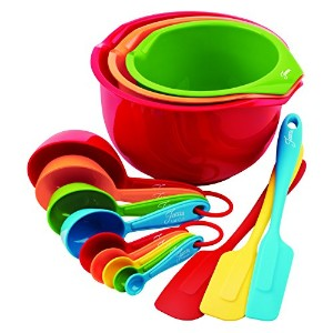 Fiesta 15-Piece Prep and Serve Baking Set, 4 Measuring Spoons, 4 Measuring Cups, 3 Spatulas, 3...
