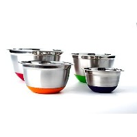 Stainless Steel German Mixing Bowl 4 Pc set w/ Non-Skid Silicone Base (MultiColor Bottoms) by...