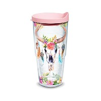 Tervis Cow Skull Feathers WrapクリアInner 24ozタンブラーwithピンク蓋
