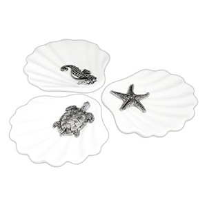 Set of 3Assortedホワイトセラミック海Inspired貝型Soap Dishes