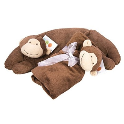 Maven Gifts: Brown Monkey Baby Blanket and Curved Pillow by Maven Gifts [並行輸入品]