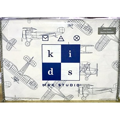 Max Studio Kids Vintage Aeroplane Schematic Line Drawing Sheet Set, Twin Size