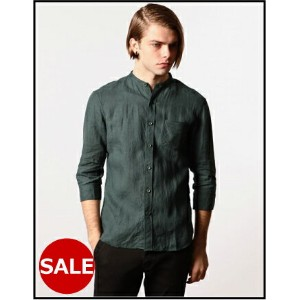 SALE【MR.OLIVE:ミスターオリーブ】M-6162WASHED SOFT LINEN 100 / 3/4 SLEEVE STAND COLLAR SHIRT[ウォッシュドソフトリネン100スタ...