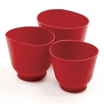 Norpro 3 Piece Silicone Bowl Set, Red by Norpro
