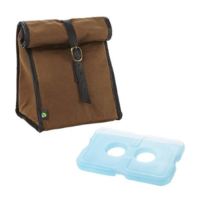 Fit & Fresh Men's Classic Roll Top Insulated Lunch Bag with Ice Pack, Dark Brown by Fit & Fresh