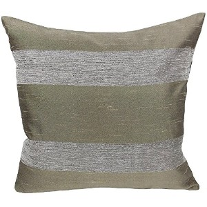 Xia Home Fashions Wilshire Striped Accent Decorative Throw Pillow Cover, 18 by 18-Inch, Pewter ...
