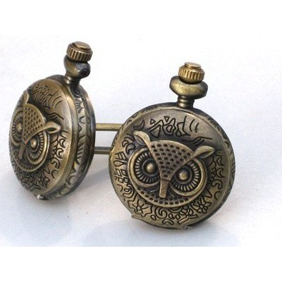 スチームパンク – 真鍮フクロウPocket Watch Cufflinks – Cuff Links Steam Punk