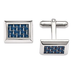 ChiselステンレススチールPolished with Blue Carbon Fiber Cuff Links