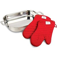 All-Clad 00830 Stainless-Steel Lasagna Pan with 2 Oven Mitts and a Cookbook / Cookware, Silver by...