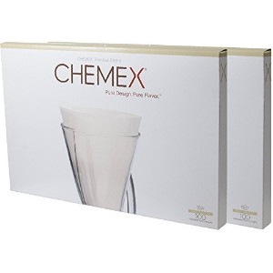 Chemex FP-2 Bonded Unfolded 13 inch Half Moon Circle Coffee Filters Set of 2 (200 Filters) with...