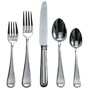 Ricciアスコット5-piece stainless-steel Flatware Place Setting、サービスfor 1