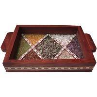 Serving Tray Made with Decorative Gem Stone withのデザインジグザグデザインgives theエレガントLook目的ホームキッチンとダイニングトレイ...